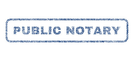 Public Notary text textile seal stamp watermark. Blue jeans fabric vectorized texture. Vector caption inside rounded rectangular banner. Rubber sticker with fiber textile structure.