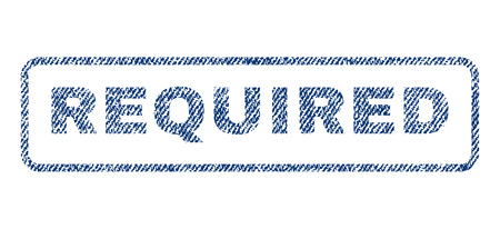 required: Required text textile seal stamp watermark. Blue jeans fabric vectorized texture. Vector caption inside rounded rectangular shape. Rubber sticker with fiber textile structure. Illustration