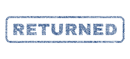 returned: Returned text textile seal stamp watermark. Blue jeans fabric vectorized texture. Vector tag inside rounded rectangular banner. Rubber emblem with fiber textile structure. Illustration
