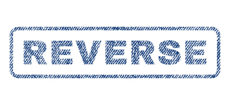 turnabout: Reverse text textile seal stamp watermark. Blue jeans fabric vectorized texture. Vector caption inside rounded rectangular banner. Rubber sign with fiber textile structure.
