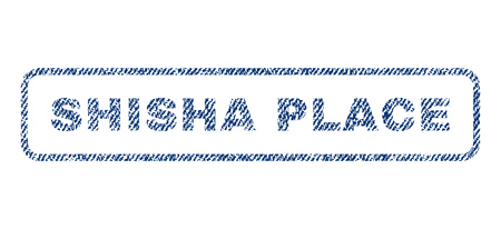 Shisha Place text textile seal stamp watermark. Blue jeans fabric vectorized texture. Vector caption inside rounded rectangular shape. Rubber sign with fiber textile structure.