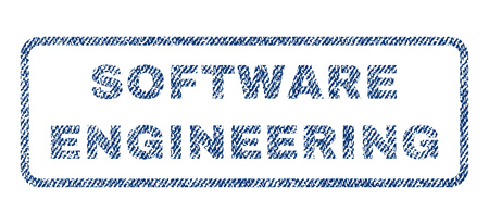 Software Engineering text textile seal stamp watermark. Blue jeans fabric vectorized texture. Vector tag inside rounded rectangular shape. Rubber emblem with fiber textile structure.