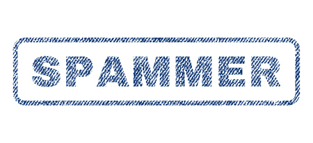 spammer: Spammer text textile seal stamp watermark. Blue jeans fabric vectorized texture. Vector tag inside rounded rectangular banner. Rubber sign with fiber textile structure.