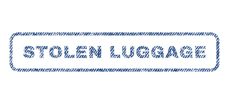 robbed: Stolen Luggage text textile seal stamp watermark. Blue jeans fabric vectorized texture. Vector caption inside rounded rectangular banner. Rubber emblem with fiber textile structure.