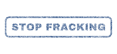 fracking: Stop Fracking text textile seal stamp watermark. Blue jeans fabric vectorized texture. Vector caption inside rounded rectangular banner. Rubber emblem with fiber textile structure.