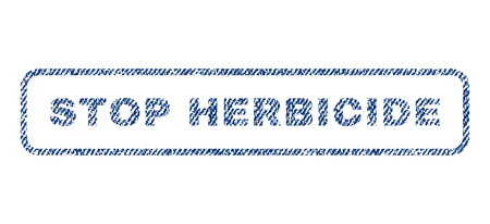 herbicide: Stop Herbicide text textile seal stamp watermark. Blue jeans fabric vectorized texture. Vector tag inside rounded rectangular shape. Rubber emblem with fiber textile structure. Illustration