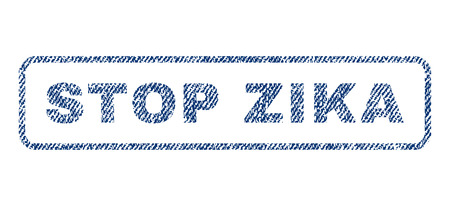 quarantine: Stop Zika text textile seal stamp watermark. Blue jeans fabric vectorized texture. Vector tag inside rounded rectangular banner. Rubber sign with fiber textile structure. Illustration