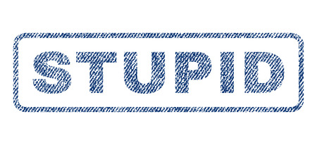 Stupid text textile seal stamp watermark. Blue jeans fabric vectorized texture. Vector tag inside rounded rectangular banner. Rubber emblem with fiber textile structure. Illustration