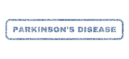 rigidity: ParkinsonS Disease text textile seal stamp watermark. Blue jeans fabric vectorized texture. Vector caption inside rounded rectangular banner. Rubber emblem with fiber textile structure.