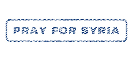 implore: Pray For Syria text textile seal stamp watermark. Blue jeans fabric rasterized texture. Raster tag inside rounded rectangular banner. Rubber emblem with fiber textile structure. Stock Photo