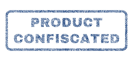 Product Confiscated text textile seal stamp watermark. Blue jeans fabric rasterized texture. Raster tag inside rounded rectangular banner. Rubber emblem with fiber textile structure. Stock Photo