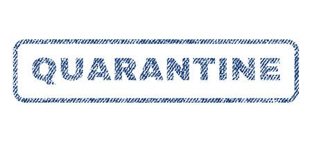 quarantine: Quarantine text textile seal stamp watermark. Blue jeans fabric rasterized texture. Raster caption inside rounded rectangular shape. Rubber emblem with fiber textile structure. Stock Photo
