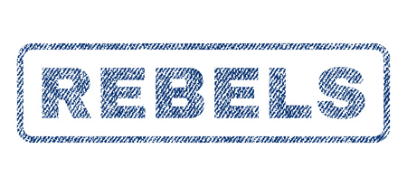 Rebels text textile seal stamp watermark. Blue jeans fabric rasterized texture. Raster caption inside rounded rectangular banner. Rubber sticker with fiber textile structure.