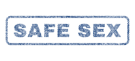raster sex: Safe Sex text textile seal stamp watermark. Blue jeans fabric rasterized texture. Raster tag inside rounded rectangular banner. Rubber sign with fiber textile structure.