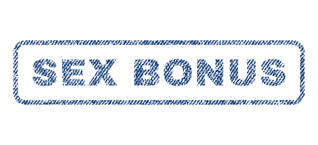raster sex: Sex Bonus text textile seal stamp watermark. Blue jeans fabric rasterized texture. Raster caption inside rounded rectangular banner. Rubber sign with fiber textile structure. Stock Photo