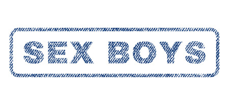 raster sex: Sex Boys text textile seal stamp watermark. Blue jeans fabric rasterized texture. Raster caption inside rounded rectangular banner. Rubber sign with fiber textile structure.