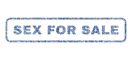Sex For Sale text textile seal stamp watermark. Blue jeans fabric rasterized texture. Raster caption inside rounded rectangular shape. Rubber sticker with fiber textile structure.