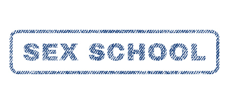 raster sex: Sex School text textile seal stamp watermark. Blue jeans fabric rasterized texture. Raster tag inside rounded rectangular banner. Rubber sign with fiber textile structure. Stock Photo