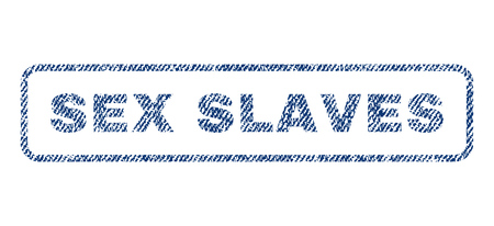 raster sex: Sex Slaves text textile seal stamp watermark. Blue jeans fabric rasterized texture. Raster tag inside rounded rectangular banner. Rubber sticker with fiber textile structure.