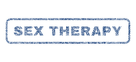 raster sex: Sex Therapy text textile seal stamp watermark. Blue jeans fabric rasterized texture. Raster tag inside rounded rectangular shape. Rubber emblem with fiber textile structure. Stock Photo