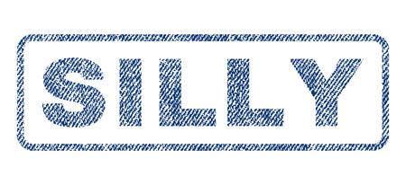 Texte stupide textile joint timbre de filigrane. Texture de tissu bleu jeans texture rasterisée. Légende raster à l'intérieur de la bannière rectangulaire arrondie. Panneau en caoutchouc avec structure textile en fibre.