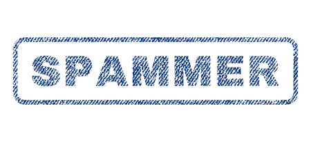 Spammer text textile seal stamp watermark. Blue jeans fabric rasterized texture. Raster tag inside rounded rectangular shape. Rubber sticker with fiber textile structure.