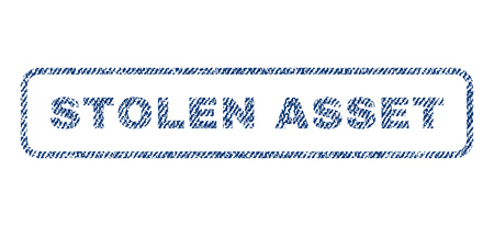 robbed: Stolen Asset text textile seal stamp watermark. Blue jeans fabric rasterized texture. Raster tag inside rounded rectangular shape. Rubber sticker with fiber textile structure.