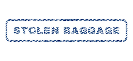 Stolen Baggage text textile seal stamp watermark. Blue jeans fabric rasterized texture. Raster caption inside rounded rectangular shape. Rubber emblem with fiber textile structure.