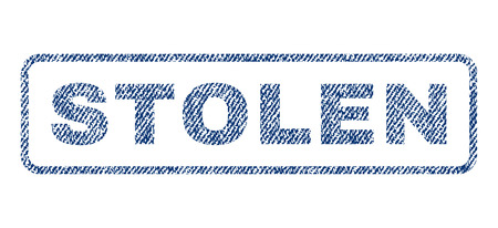 Stolen text textile seal stamp watermark. Blue jeans fabric rasterized texture. Raster tag inside rounded rectangular shape. Rubber sticker with fiber textile structure.
