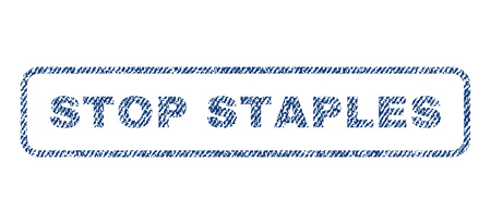Stop Staples text textile seal stamp watermark. Blue jeans fabric rasterized texture. Raster caption inside rounded rectangular shape. Rubber sign with fiber textile structure.