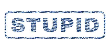 twit: Stupid text textile seal stamp watermark. Blue jeans fabric rasterized texture. Raster tag inside rounded rectangular banner. Rubber sign with fiber textile structure. Stock Photo