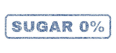 Sugar 0 Percent text textile seal stamp watermark. Blue jeans fabric rasterized texture. Raster caption inside rounded rectangular shape. Rubber emblem with fiber textile structure. Imagens