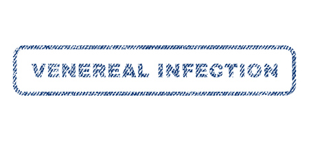 venereal: Venereal Infection text textile seal stamp watermark. Blue jeans fabric rasterized texture. Raster caption inside rounded rectangular banner. Rubber sticker with fiber textile structure.