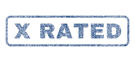 x rated: X Rated text textile seal stamp watermark. Blue jeans fabric rasterized texture. Raster caption inside rounded rectangular shape. Rubber emblem with fiber textile structure.