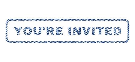 YouRe Eingeladener Text Textil-Siegel Stempel Wasserzeichen. Blue Jeans Stoff rasterte Textur. Rasterbeschriftung in abgerundeter rechteckiger Form. Gummi-Aufkleber mit Faser-Textil-Struktur. Standard-Bild - 74520671