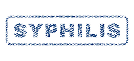 Syphilis text textile seal stamp watermark. Blue jeans fabric vectorized texture. Vector caption inside rounded rectangular banner. Rubber emblem with fiber textile structure.