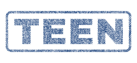 puerile: Teen text textile seal stamp watermark. Blue jeans fabric vectorized texture. Vector tag inside rounded rectangular shape. Rubber sign with fiber textile structure.