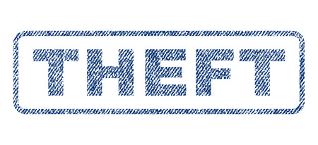 Theft text textile seal stamp watermark. Blue jeans fabric vectorized texture. Vector caption inside rounded rectangular banner. Rubber emblem with fiber textile structure.
