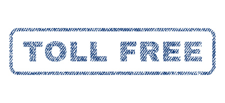 toll: Toll Free text textile seal stamp watermark. Blue jeans fabric vectorized texture. Vector tag inside rounded rectangular shape. Rubber sign with fiber textile structure.