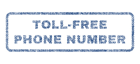 toll free: Toll-Free Phone Number text textile seal stamp watermark. Blue jeans fabric vectorized texture. Vector tag inside rounded rectangular banner. Rubber sign with fiber textile structure.
