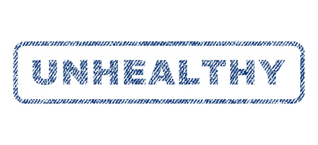 Unhealthy text textile seal stamp watermark. Blue jeans fabric vectorized texture. Vector caption inside rounded rectangular shape. Rubber emblem with fiber textile structure.