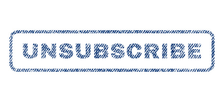 unsubscribe: Unsubscribe text textile seal stamp watermark. Blue jeans fabric vectorized texture. Vector caption inside rounded rectangular shape. Rubber sign with fiber textile structure.