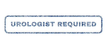 Urologist Required text textile seal stamp watermark. Blue jeans fabric vectorized texture. Vector caption inside rounded rectangular banner. Rubber emblem with fiber textile structure.