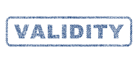 validity: Validity text textile seal stamp watermark. Blue jeans fabric vectorized texture. Vector caption inside rounded rectangular banner. Rubber emblem with fiber textile structure.