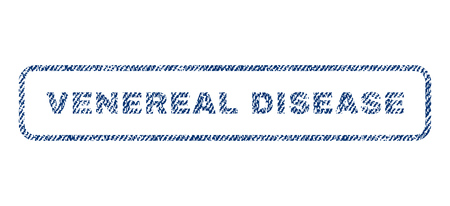 venereal: Venereal Disease text textile seal stamp watermark. Blue jeans fabric vectorized texture. Vector caption inside rounded rectangular banner. Rubber sticker with fiber textile structure. Illustration