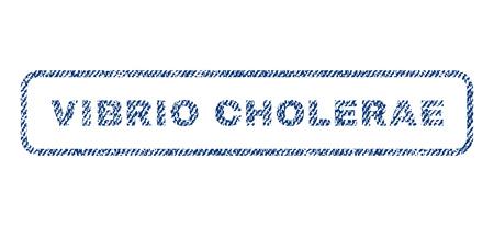 quarantine: Vibrio Cholerae text textile seal stamp watermark. Blue jeans fabric vectorized texture. Vector caption inside rounded rectangular banner. Rubber emblem with fiber textile structure.