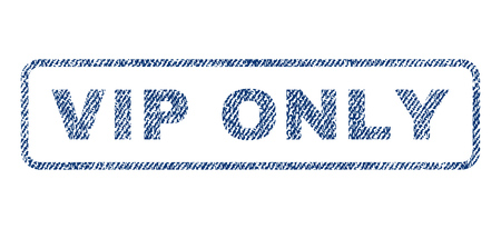 Vip Only text textile seal stamp watermark. Blue jeans fabric vectorized texture. Vector tag inside rounded rectangular banner. Rubber sticker with fiber textile structure.