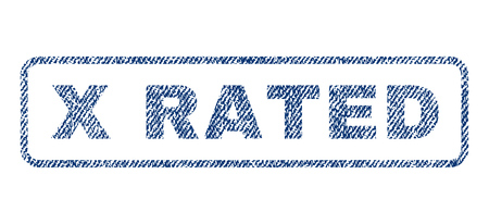 x rated: X Rated text textile seal stamp watermark. Blue jeans fabric vectorized texture. Vector tag inside rounded rectangular shape. Rubber sign with fiber textile structure. Illustration