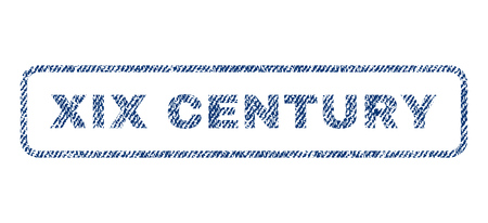 Xix Century text textile seal stamp watermark. Blue jeans fabric vectorized texture. Vector caption inside rounded rectangular shape. Rubber sign with fiber textile structure.