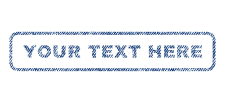 axiom: Your Text Here text textile seal stamp watermark. Blue jeans fabric vectorized texture. Vector tag inside rounded rectangular shape. Rubber sign with fiber textile structure.